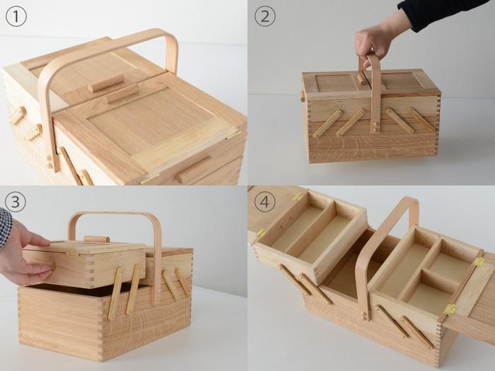 ソーイングボックスは写真のように上段が左右に大きく開くので、下段に収納した物もスムーズに取り出すことができます。仕切り付きで細かく分類しながら収納できるので、メイク道具や文房具を収納したりと、裁縫箱以外にも様々な使い方ができますよ◎。