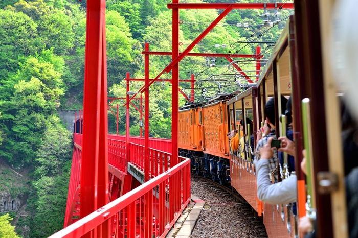 宇奈月駅から欅平駅間を日本でも有数の深いV字峡谷を縫うように走っています。線路幅が狭いため、迫力満点です。
