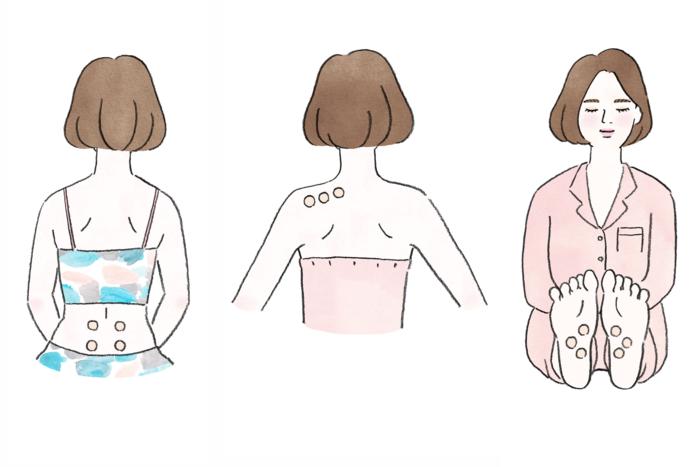 『ピップエレキバン』は、首から下であればいろいろな場所に貼れる点が特長です。肩コリにはもちろん、腰や背中、ヒールや立ちっぱなしの仕事でパンパンになった足の裏にも貼ることができます。 こっている部位のあたりを少し指で押してみて「イタ…気持ち良い~」と感じるポイントに貼ってみてください。症状が重い時は、ポイントの両側や周囲など、イラストのように貼るとより効果を得られます。