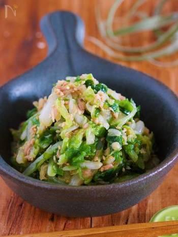 白菜を塩もみして、ツナ缶&ナムルダレで和えるだけ!味を染み込ませるため、しばらく置きますが、それでも10分程で出来ちゃいます。お料理の合間にパパっと作れるので、その分、メインのお料理にたっぷりと時間をかけられますよ! あとひく美味しさで、1/4株位の白菜もアッとゆう間にペロリ、食べられちゃいます。