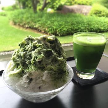「とらや」は室町時代に京都で創業し和菓子を作り続けてきた言わずと知れた老舗。今出川駅から徒歩約7分の直営店「虎屋菓寮 京都一条店」のかき氷が絶品です。  小倉餡の上に氷をたっぷり、宇治抹茶と和三盆で作った濃厚な抹茶蜜がたまらない「宇治金時」がおすすめです。