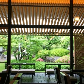店内からは京都らしい風情溢れるお庭の景観が楽しめ、江戸時代からの蔵や稲荷社を望むことができます。 窓越しにお庭を眺めながら甘味を頂ける素敵なひととき。テラス席もありますよ。