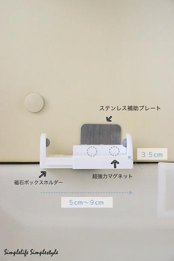 用意するものは、「磁石ボックスホルダー」「超強力マグネット」「ステンレス補助プレート」。  ①「磁石ボックスホルダー」の側面に「超強力マグネット」を接着剤で貼りつけます。 ②「ステンレス補助プレート」を洗面台に貼りつけ、①を設置。  幅を変えられるので、置きたいものにあわせて幅を変えられます。ぴったりの収納グッズがないときは、自分でカスタマイズするのも楽しそう。