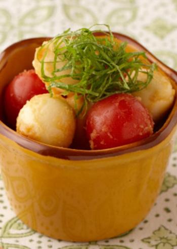 プチトマトとモッツァレラチーズといえばカプレーゼを思い出しますが、二つをお味噌に漬け込んだ新しいレシピ。お互いの味わいが凝縮されとっても美味しいおつまみになります。