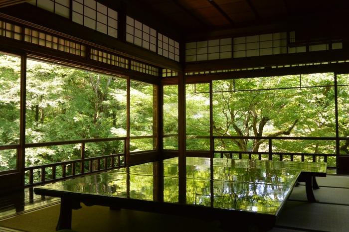 いちばんの見所は、書院の2階から望む「瑠璃の庭」。 まるで絵画のようなその景色は圧巻。机の天板にも樹々が映り込み、見渡す限り一面が雄大な自然美に包まれています。何とも言えないその美しさは、幻想的で時間を忘れてしまうほど見入ってしまうこと間違いありません。