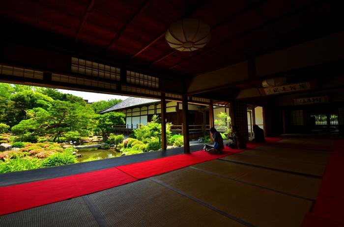 足利氏の菩提寺として知られる「等持院」は1341年に創られ、足利尊氏の墓所があることでも有名。禅宗の開祖である達磨大師を描いたユニークな達磨図も有名ですが、見所は夢窓国師作として伝えられている三大名園のひとつ、等持院庭園です。 ゆっくりと座りながら眺めることができ、その風景は趣き深いものがあります。