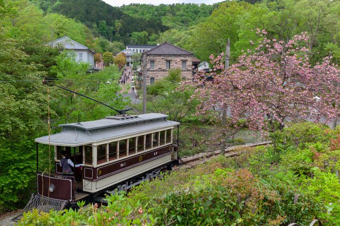 """重要文化財や国の登録有形文化財に指定されている60以上の貴重な明治期の建物を中心に、見るだけでなく""""生きている村""""として「日本最古級の蒸気機関車」や「京都市電」に乗ったり、明治時代風ドレスや矢絣・袴などのハイカラ衣装に着替えて園内を散策できる体験型の野外博物館です。"""