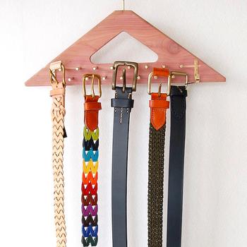 ベルトやネクタイ、ストールなどどうやって収納していますか?こんなハンガーがあればまとめられて、選ぶときも快適。