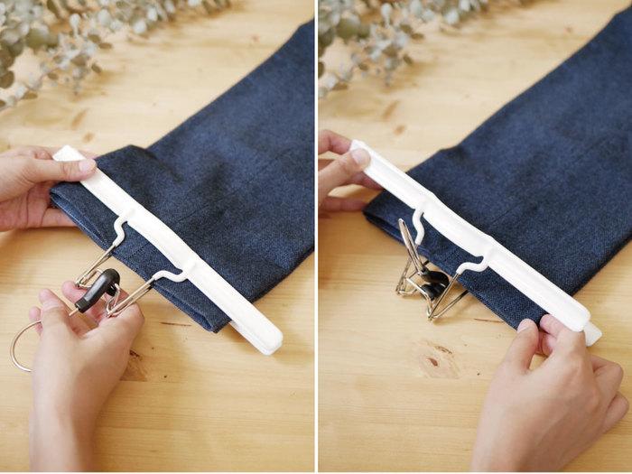 使い方は、幅広のクリップで挟むだけ。フックを倒すとクリップが開くので、力は要りません。
