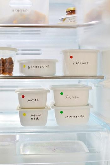 冷蔵庫に並べれば、すっきりと収まりこんなにも美しくまとまります。ブロガーさんのように、中身をラベリングしておくと迷いませんね。