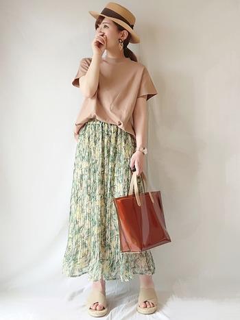 ジーユーのベージュのトップスに涼しげな花柄スカートを合わせて。しまむらのハットを合わせたプチプラコーデですが、優しい色合いでまとめて上品に着こなしていますね。
