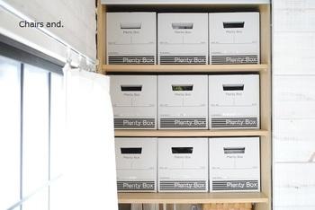 ボックスのデザインをそろえれば、収納にも統一感が!ちなみにこちらのボックスはセリアでは定番となっている「Plenty Box(プレンティボックス)」です。