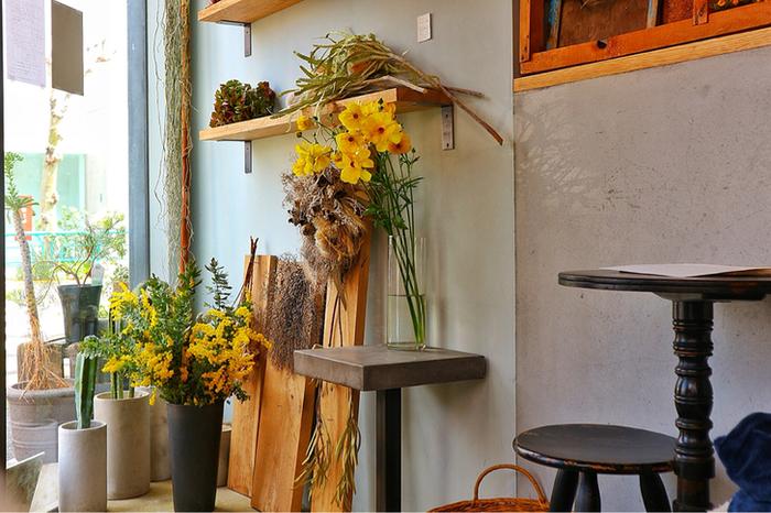 手土産を選んだら、店舗内のイートインカフェでお花やグリーンに囲まれながらのひと休みもいいですね。お店は不定休なので、サイトでチェックしてからお出かけくださいね。