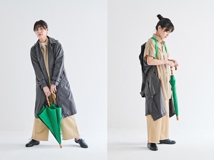 メンズライクにも相性の良いチャコールグレーとパッと明るいグリーンの掛け合わせ。グリーンの傘を合わせたトータルコーディネートも楽しめます。ありそうでなかったカラーリングでこなれ感を演出。