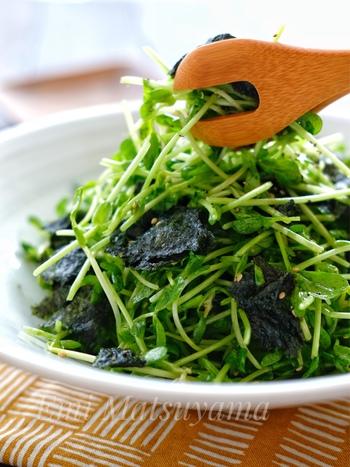 豆苗はキッチンばさみでカット。海苔は手でちぎり…包丁不要、5分ほどでテーブルに出せます。 鶏がらスープの素とごま油の中華風な味つけによって、豆苗の青臭さや苦みも気になりません。