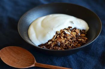 オーガニックのレーズンやパンプキンシードが使われたグラノーラです。オーツ麦がベースのザクっとした食感に、オーガニックレーズンの甘みがマッチ。