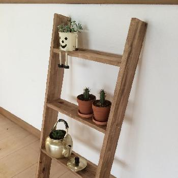 小さめの飾り棚としてもラダーは活躍してくれます。幅が広めの板を使ったラダーなら、小物も安定して置くことができますね。左右の幅を生かし、間をあけて配置することで、空間を広く見せることができます。
