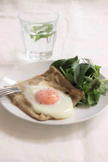 日本では甘いクレープが人気ですが、フランスでは甘いクレープだけでなく、ハムやキノコなどと組み合わせた、お惣菜のガレットも人気なんだそうです。そば粉のほのかな香りと、もちもち食感の生地は食べ応え抜群!優し味わいです。