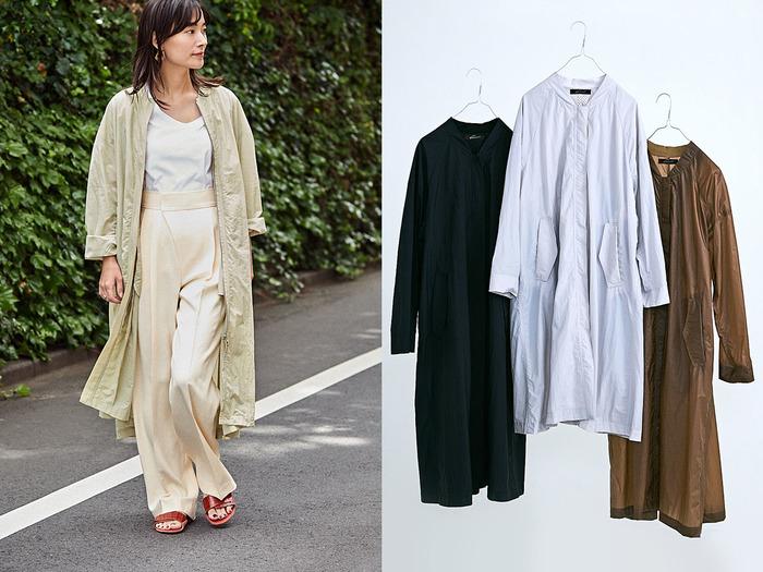 「ライトロングブルゾン」は、初夏から秋口まで活躍する一着。上半身はブルゾンらしいデザインですが、ロング丈なのでカジュアルになりすぎず、大人の女性におすすめです。薄く軽い素材はコンパクトに畳んでもシワにならず、夏のUV・冷房対策や旅行中のアウターとしてもぴったり。いつものパンツやTシャツの上からさらりと羽織るだけで、コーディネートの格をぐっと上げてくれます。