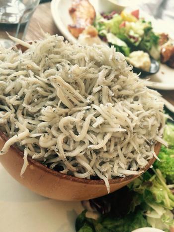 あふれそうなくらいたっぷり盛られたしらす丼も人気メニューのひとつ。中までしっかりしらすが盛られています。しらすの下に薬味が混ぜ込んであり、白米だけでなく、五穀米・玄米とも相性抜群です!