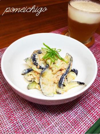 生姜醤油とマヨネーズをベースに、塩もみした茄子・鮭フレークをおいしくいただきましょう♪  生姜のぴりっとした風味とマヨネーズがとってもよく合う一品です。