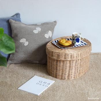 また、ソファーやベッドサイド置き、サイドテーブル代わりに使ったり、蓋をトレー代わりに、かごを収納にして別々に使うなんてことも出来ちゃいます!