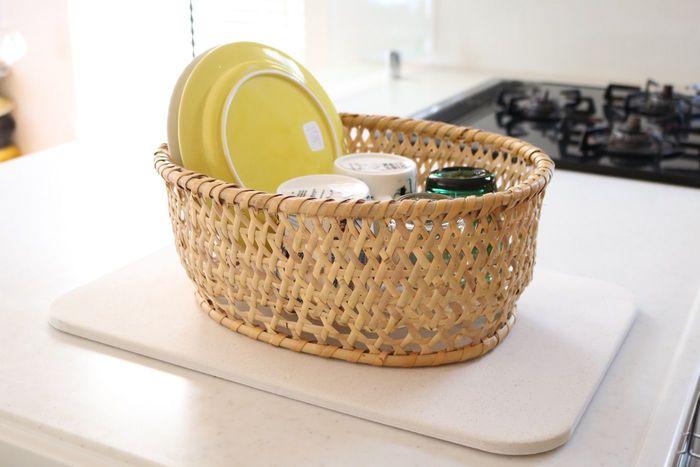 ドライボードと椀かごをセットで使うのもおすすめ。これなら、椀カゴの下部分もすっきりと乾かすことができます。
