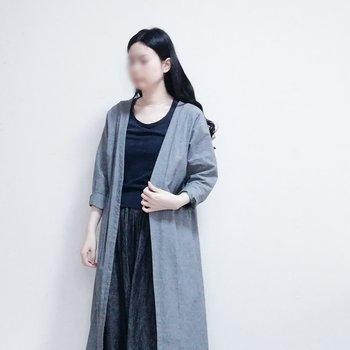 普段着のイメージがしやすく、「手作り服」特有の失敗も避けられそうですね。この写真は、コートとガウチョパンツがyanさんの作品です。