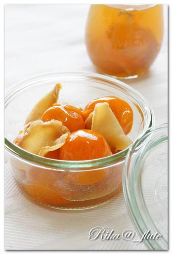 こちらは冬の時季に嬉しい「金柑はちみつショウガ煮」。圧力鍋なら簡単に美味しい金柑煮を作ることができます。寒い日はシロップをお湯で割ってホットドリンクにすれば、体の内側からポカポカ温まりますよ◎。