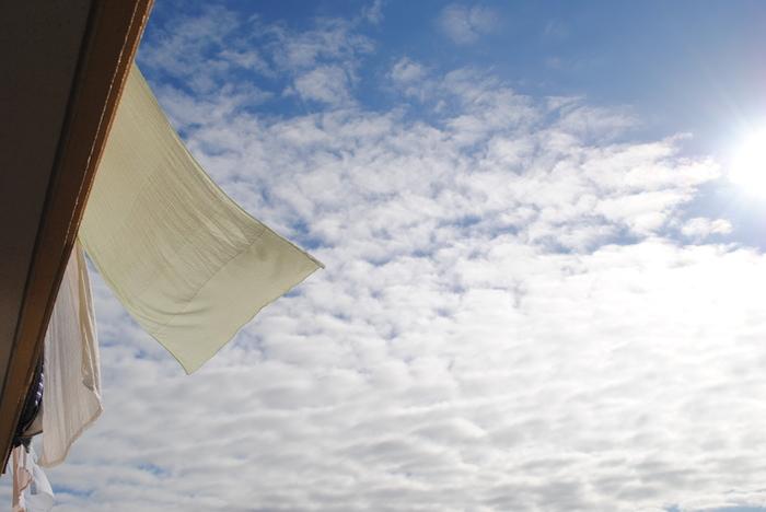 布団を干したら、シーツやタオルケットなどの大物を洗いましょう。晴れた日だと短時間でしっかり乾かせますね!洗い立てのシーツだと気持ちよく眠りにつけそう♪