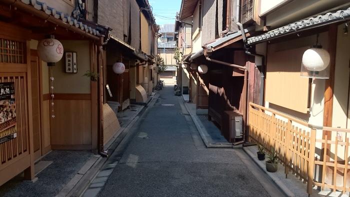 ろじうさぎがある細い路地の両横にはお茶屋さんが軒を連ねています。ここを歩いていると、まるで江戸時代にタイムスリップしたかのような錯覚を感じます。