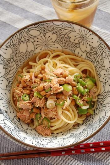 おなじみのネバネバ食材、納豆とオクラ。バテやすい夏の体を癒してくれる冷製パスタです。ほっとする、日本ならではの優しい味わい。