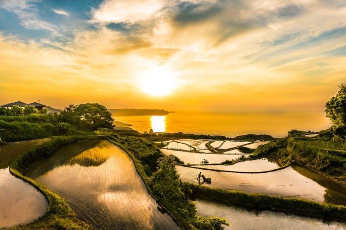 日本海に沈みゆく夕陽、紅く染まった空、空を鏡のように映し出す東後畑棚田が見事に融和した景色は、まるで一枚の絵のようです。