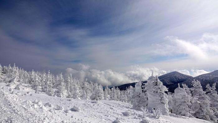 宮城県と山形県の県境に位置する「蔵王連峰」は、冬の季節まるで映画の世界のような樹氷が広がります。スキーを楽しめるのはもちろん、「樹氷幻想回廊」と称されるツアーも開かれ、ライトアップされた幻想的な樹氷を巡るのも人気。  その西麓、標高880mに位置し、古くは高湯(たかゆ)とも呼ばれたのが蔵王温泉です。開湯1900年とも伝えられ、日本武尊(ヤマトタケルノミコト)に従った吉備多賀由(キビノタガユ)によって西暦110年頃発見されたという伝説も。