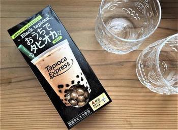 こちらはカルディコーヒーファームのタピオカです。生タイプのタピオカなので、20分から30分茹でるだけで食べられるようになります。本格的なのに、短時間でできるのはありがたいですね。