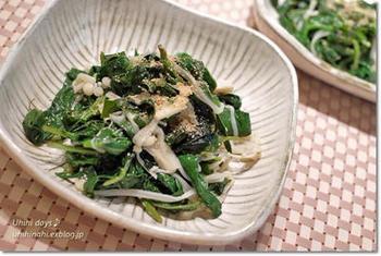 モロヘイヤとえのき茸を粉末スープで和えるアイデア。簡単に味が決まり、忙しいときに便利ですね。