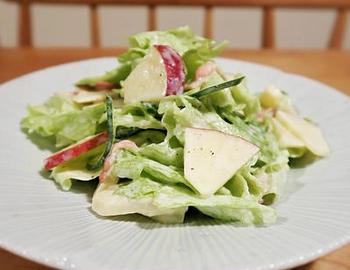 りんごサラダは、シャキシャキノ食感とフルーティーさが魅力。マヨネーズよりヨーグルトの割合を多くすることで、あっさり爽やかなテイストに。