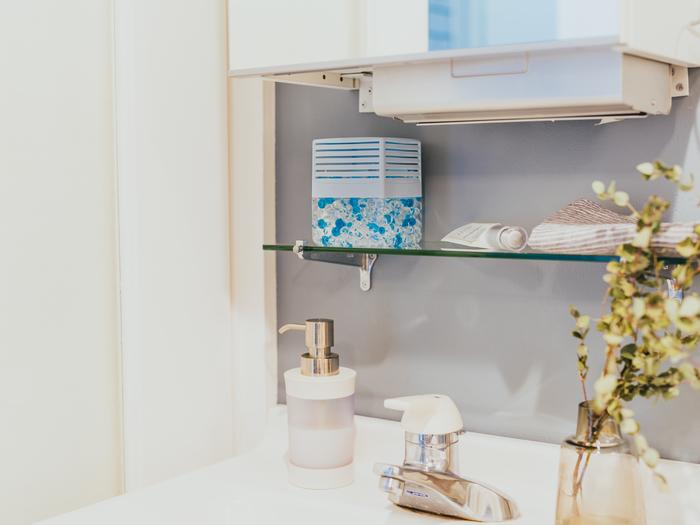 湿度が高い洗面所は、ニオイ菌やカビが発生しやすい場所です。気付けばどことなく気になるニオイが…というのもよくあるケース。 そんなカビ臭にも、消臭剤がおすすめです。水分が溜まりやすい、水回りの近くにセットしておきましょう。こちらも微香タイプを使えば、ふわっとせっけんの香りを感じられる清潔感のある空間に。