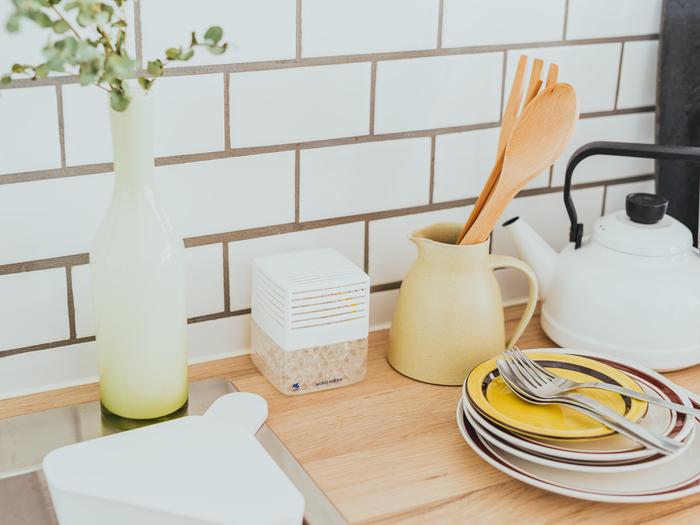 キッチンのようにさまざまな香りが集まる場所は、嫌なニオイを徹底的に消臭してフラットな状態にしておきたいもの。ニオイの発生源になりやすい「三角コーナー」や「排水溝」の近くに、消臭効果に特化した消臭剤を置くのがオススメです。料理の香りが一層引き立つ、素敵な空間を目指しましょう。