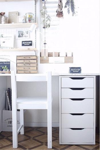 「収納かご」は棚やオープンラックだけではなく、引き出しの中の整理整頓にも活躍してくれます。素敵なバスケットやかごを使って、文房具類など小物が集まるデスク周りをスッキリさせてみませんか?