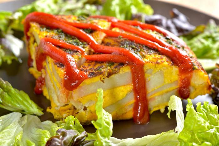 こちらの「かぼちゃのスパニッシュオムレツ」は、オムレツなのに卵を使用していない驚きのヴィーガン料理。南瓜・山芋・豆腐などを使って作られたもので、フレンチシェフも絶賛のお味なのだそうです。