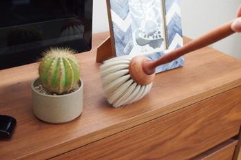 棚の上やテレビなど、ほこりがつきやすい場所は柔らかいブラシでササッと掃除。小さめのブラシなら使い勝手が良く、思いついたときに気軽に掃除できます。