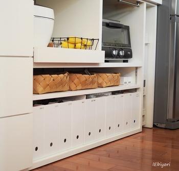 並んだ姿が美しいニトリのファイルボックスは、オープン棚の収納にもぴったり。
