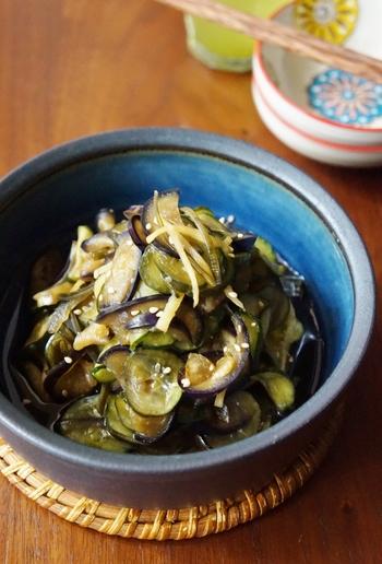 夏野菜のきゅうりとナスを使った福神漬け。冷蔵庫で保存可能なので、カレー以外にも、チャーハンに添えたり、おにぎりの具にしたりと、なにかと重宝する1品です。食べやすく、材料を小さめにカットするのがおすすめ。