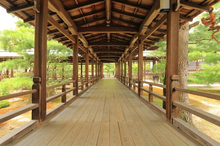 境内の各お堂を結ぶ廊下は「村雨の廊下」と呼ばれています。鴬張りとなった床板、屋根のある低い天井、幾重にも続く数々の柱、廊下から見える美しい庭園が織りなし、村雨の廊下を歩いていると、平安貴族の屋敷に足を踏み入れたかのような錯覚を感じます。