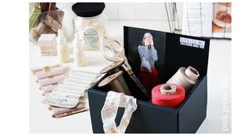 おしゃれな裁縫用具などを見せながら収納できる、オープンボックスができました!お菓子の空き箱が華麗によみがえりましたね。