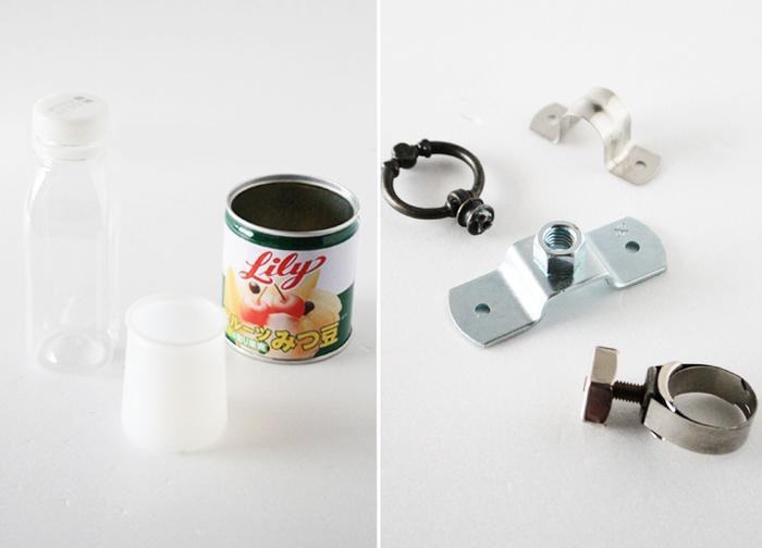 準備するものは、使い終わった後の空き缶、ペットボトル、ヨーグルトの空き容器など。捨てれば普通にゴミになるアイテムですが、金具パーツを活用して、ゴミを新たに変身させます。