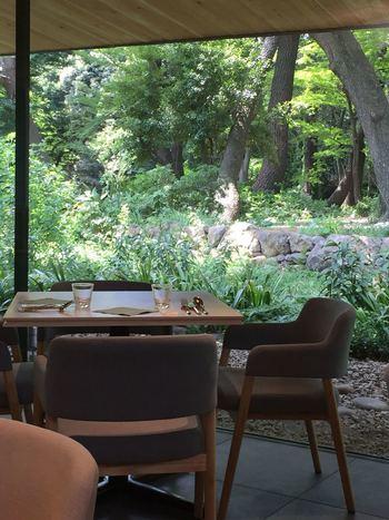 森の中にいるような美しい庭園を眺めながらのお食事は、贅沢な時間を演出してくれます。芸術を鑑賞したあとに、ゆっくり余韻に浸りたい方にもぴったりです。