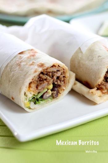 豚ひき肉や黒豆、アボカドなどを使ったブリトーです。好きな具を自由に詰め込んで、しかも片手で食べやすいのもうれしいですね。