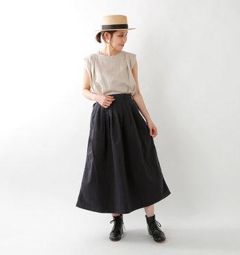 Aラインのスカートにフロントタックを施したふんわりスカート。程よいハリ感のある素材が綺麗なシルエットをキープしてくれます。ウエスト周りはスッキリとしたデザインでタックインも得意。左サイドのみボタンが6つ並んでいて、さりげないウエストポイントになっています。ウエスト背面はゴム仕様なので、穿き心地はゆったり♪
